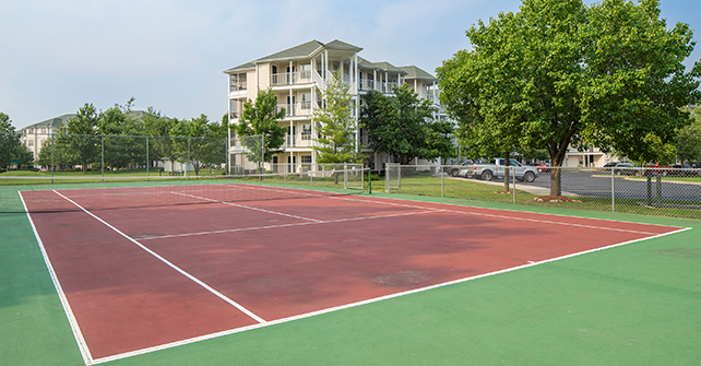 The tennis courts at The Suites at Fall Creek Resort