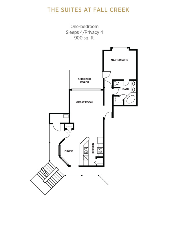 One-bedroom layout at The Suites at Fall Creek Resort